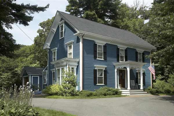 Paint Color Ideas For Colonial Revival Houses Blue Shutters Exterior Colors And Dusty Blue