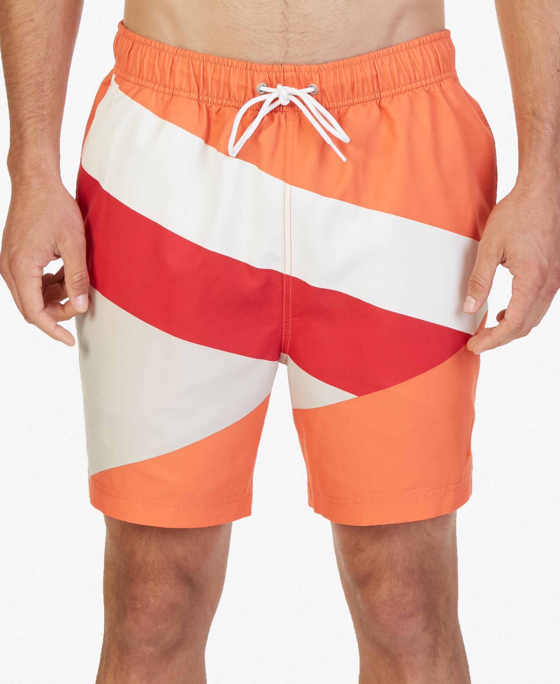 e7f0b663c9 A diagonally colorblocked design gives these Nautica swim trunks a modern  look, while the comfortable elastic drawstring waist and Quick Dry fabric  add ...