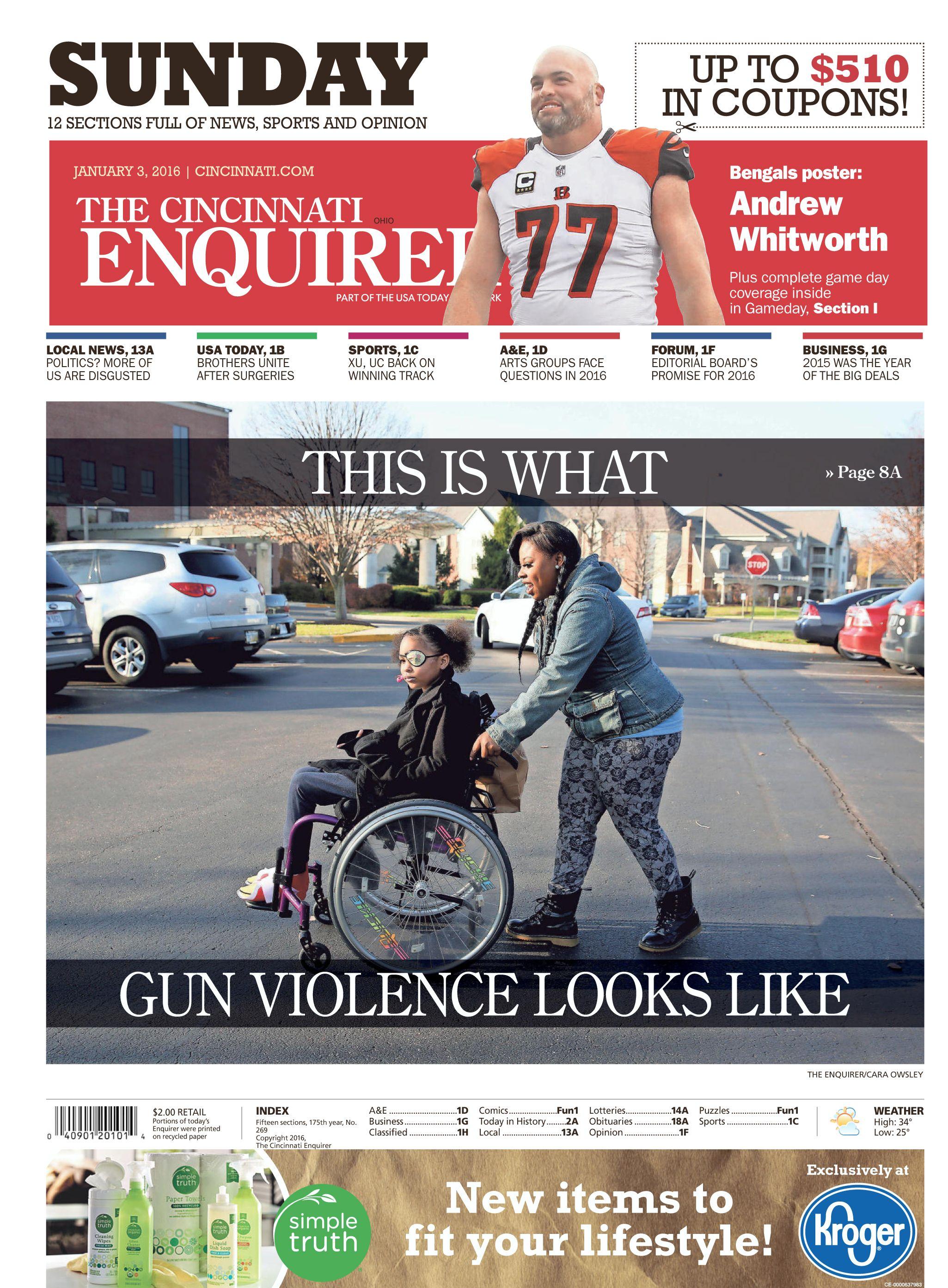 The Cincinnati Enquirer's front page, Sunday, Jan. 3, 2016