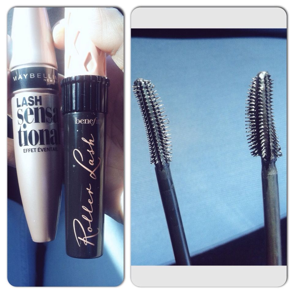 Maybelline Lash Sensational vs Benefit Roller Lash mascara. Not an exact dupe but very similar