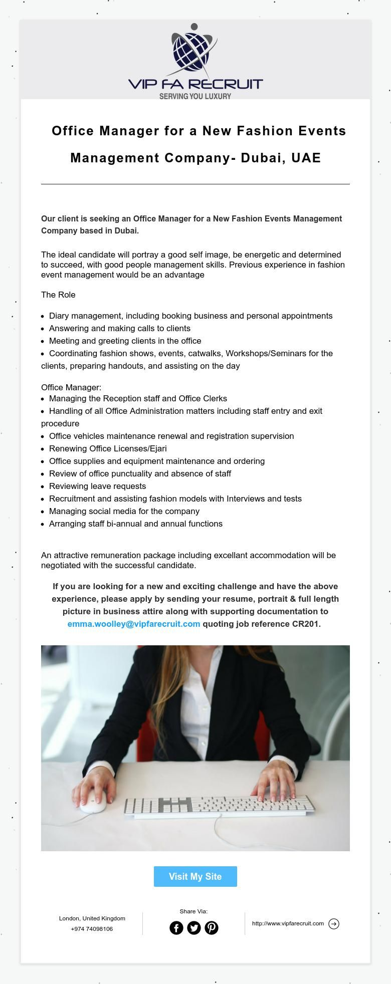 Office Manager for a New Fashion Events Management Company