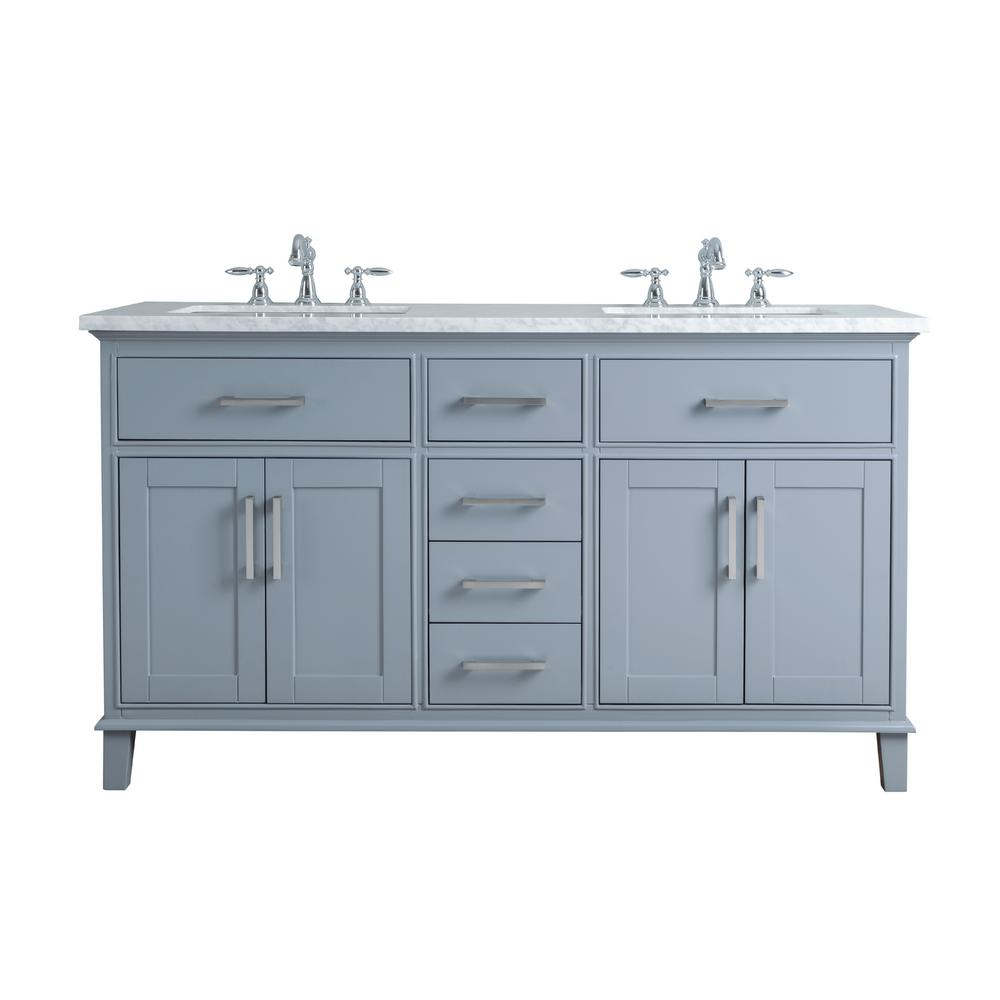 Stufurhome 60 In Leigh Double Sink Bathroom Vanity In Grey With