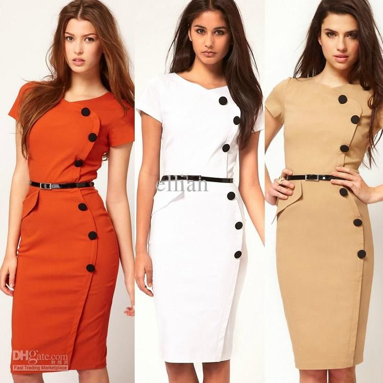 Women New Fashion Y Elegant Dress Ol Office Las Orange Apricot White Color
