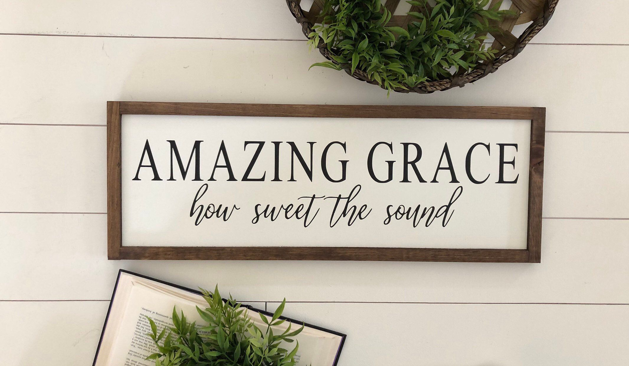 Excited to share this item from my #etsy shop: Amazing grace how sweet the sound wooden sign / home decor / farmhouse sign / housewarming gift / fixerupper style sign /