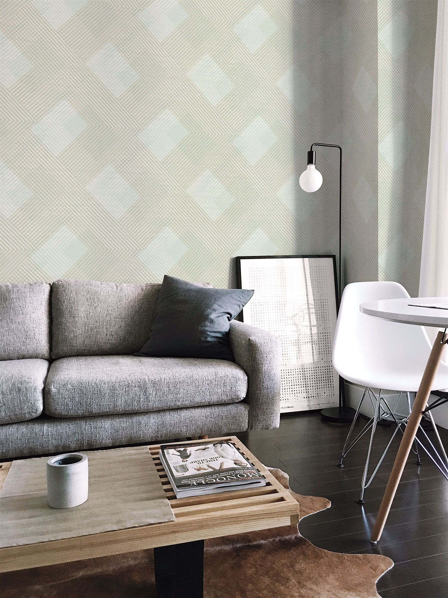 Decorate A Room Online: Scandia Plaid Wallpaper - Green