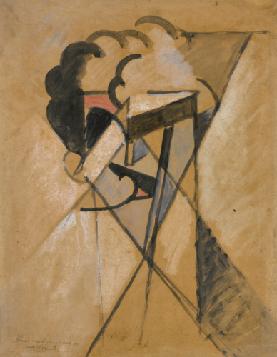 Albert Gleizes 1881 - 1953 ESQUISSE POUR UN PORTRAIT DE JACQUES NAYRAL signed Alb Gleizes, dated 14 and inscribed Jacques Nayral, tué à Bossie, 1914 (lower left) watercolour, pastel and gouache on paper 42 by 33.5cm., 16 1/4 by 13 1/4 in. Executed in 1914.
