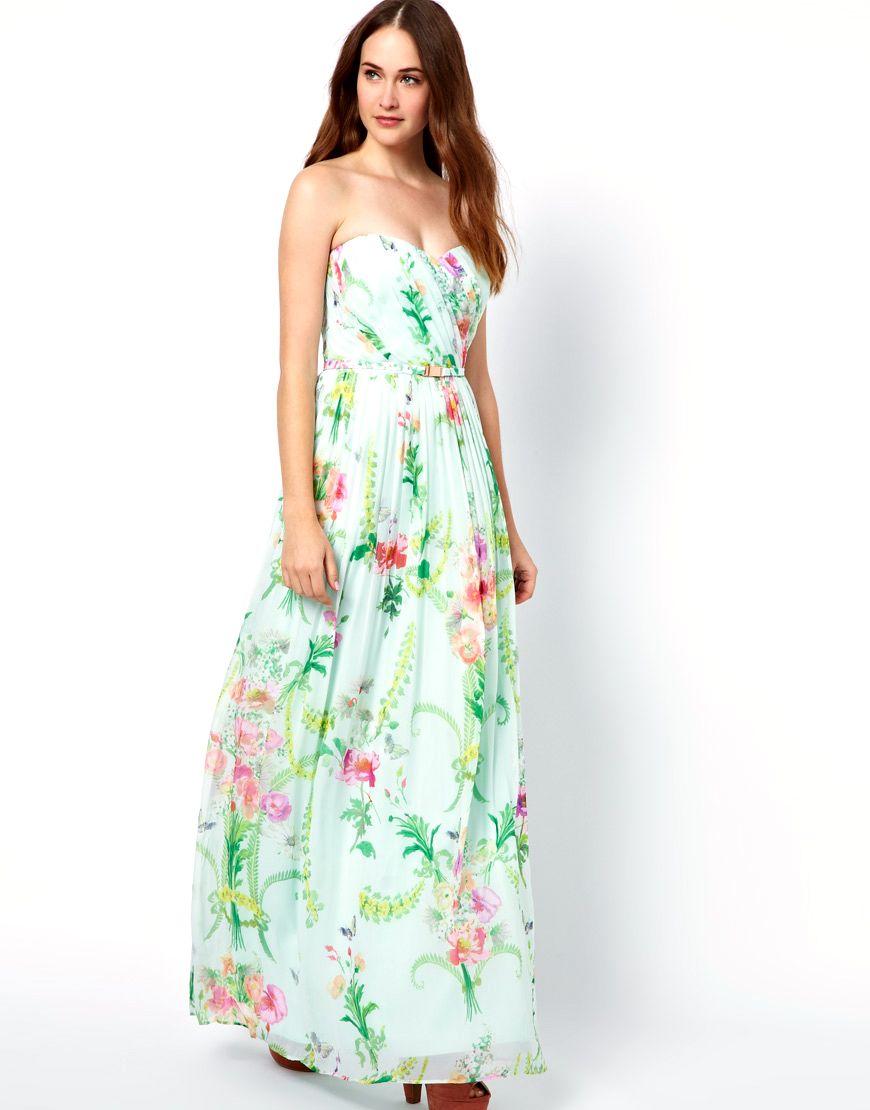 Bandeau Maxi Dress In Wallpaper Floral Print By Ted Baker Fashion Dresses Bandeau Maxi Dress [ 1110 x 870 Pixel ]