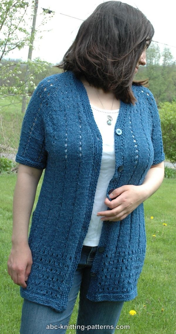 ABC Knitting Patterns - Denim Eyelet Cardigan | Craft Ideas | Pinterest