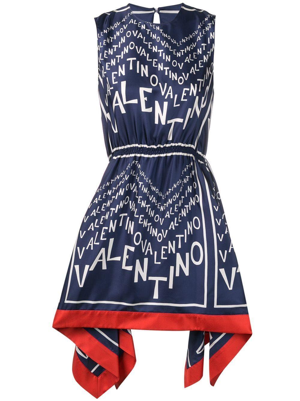 541fda74f0 Valentino logo-print dress - Blue in 2019 | Products | Dresses ...