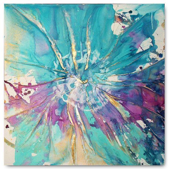 Teal Roses Original Abstract Wall Art Caroline Ashwood