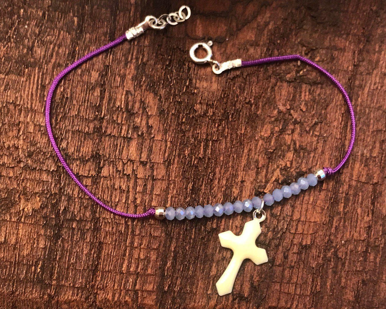 Croix en argent Bracelet pour femme Gris Cordon cadeau pour sa femme bijoux catholique