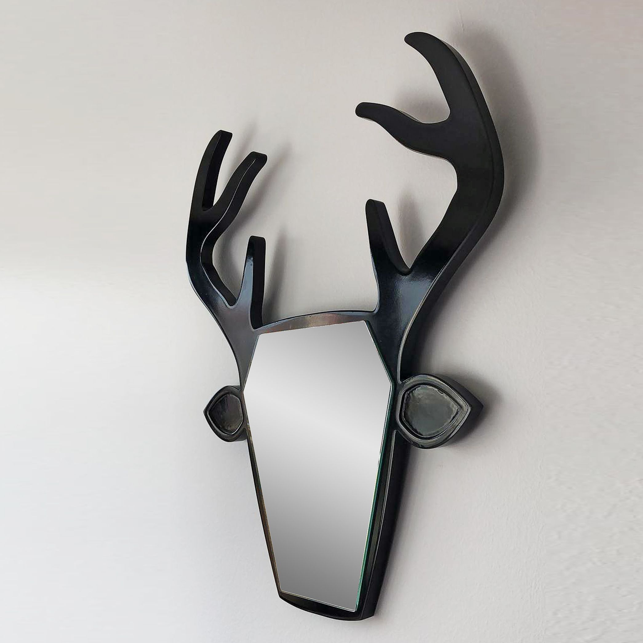 Wapiti Deer Head Shaped Mirror With Antlers Wall Etsy In 2020 Head Shapes Unique Home Accessories Deer Head
