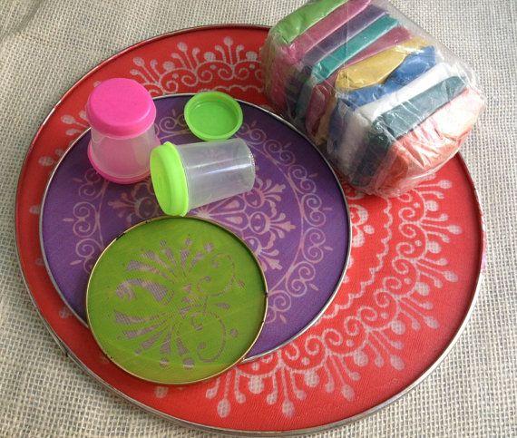 Rangoli stencils diy diwali rangoli kit celebrate for Home made rangoli designs