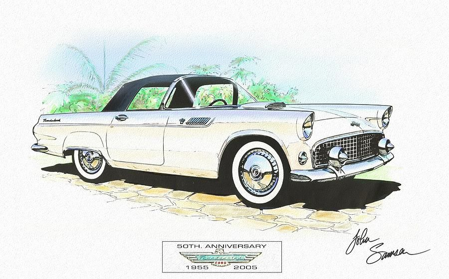 1955 Ford Thunderbird White Classic Car Art Sketch Rendering Canvas ...