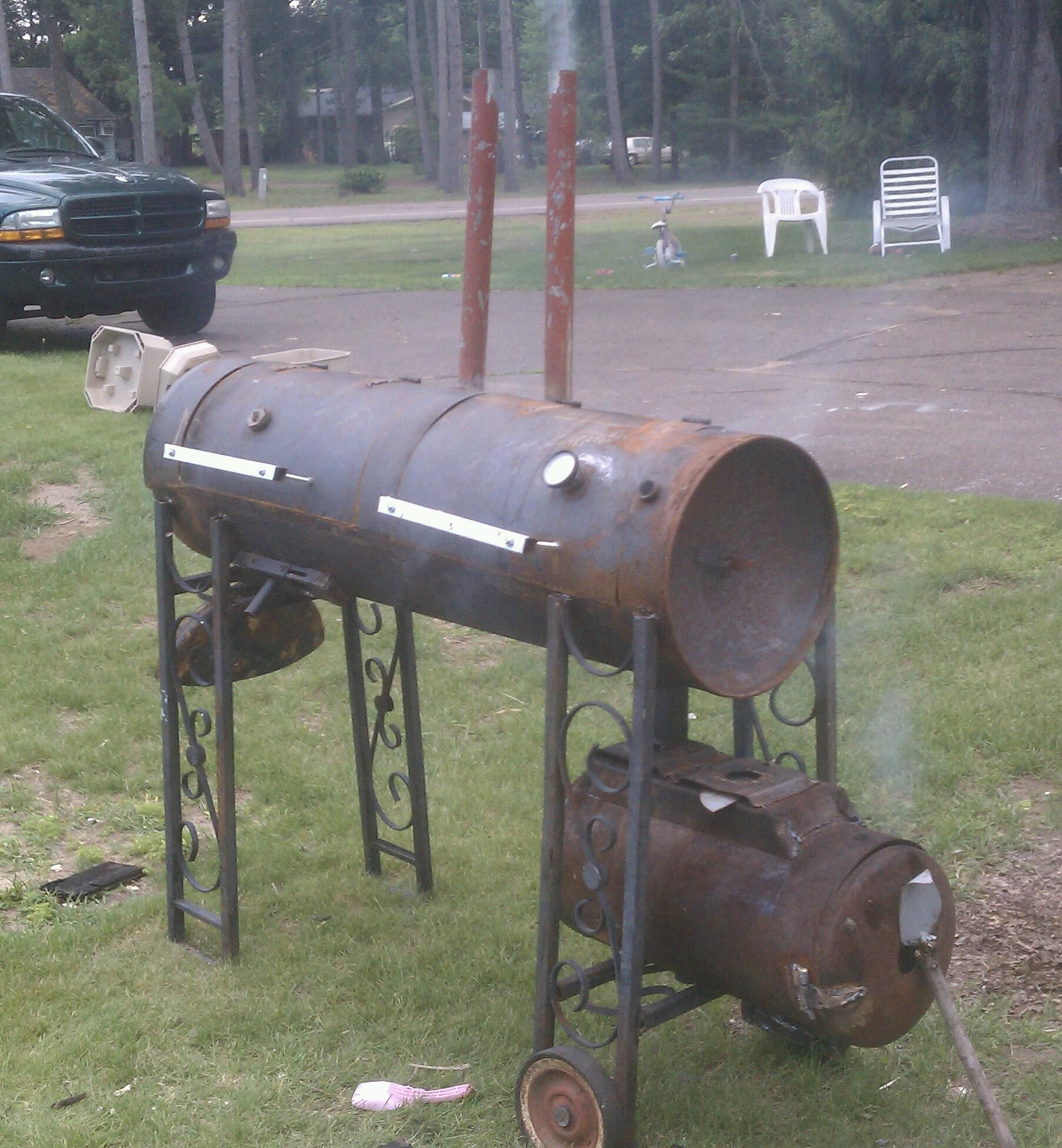 Smoker On Right Grill On Left Made From Hot Water Heater Air Compressor Porch Railing 2bed Frames Old Close Dryer Hot Water Heater Welding Projects Bbq Pit
