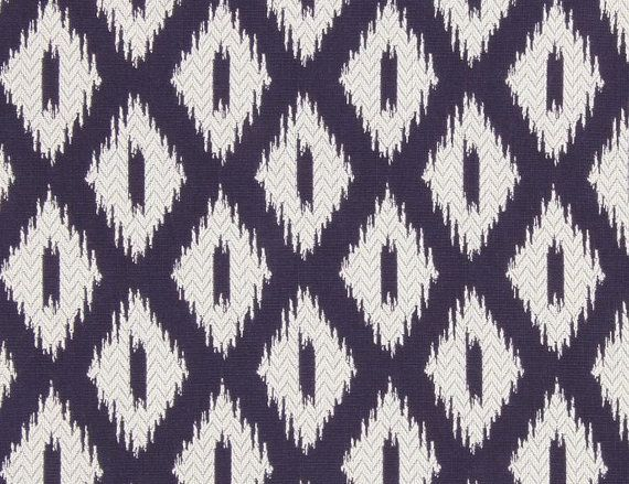 Navy Blue Ikat Upholstery Fabric Blue White Woven Fabric Ikat For Furniture Blue