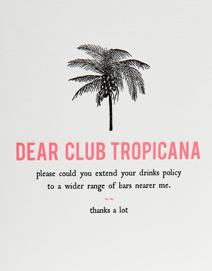 Dear Club Tropicana Card At Asos Com