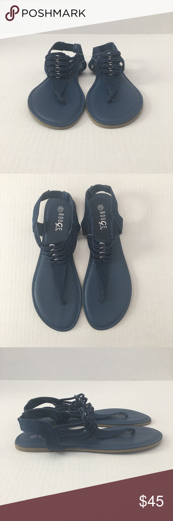 14e403f76b7f New Navy Blue Rouge Helium Sandals Navy Blue Sandals with Denim Strap Rouge  Helium Shoes
