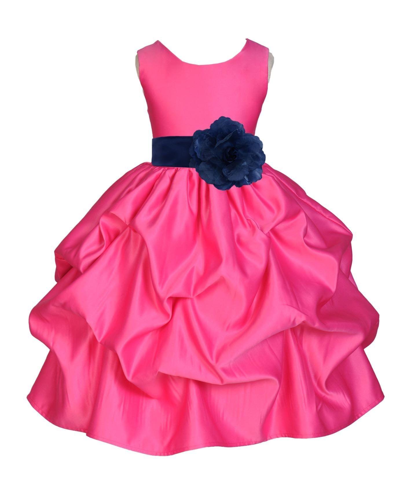 Wedding Pageant Fuchsia Hot Pink Pick Up Kid Flower Girl Dress 208t