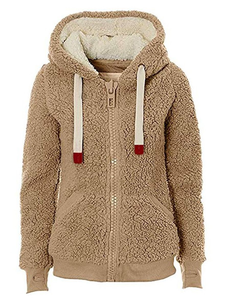 2abd66fac Polar Fleece Teddy Bear Zip Women's Hoodie | Sheinntrend's Tops ...