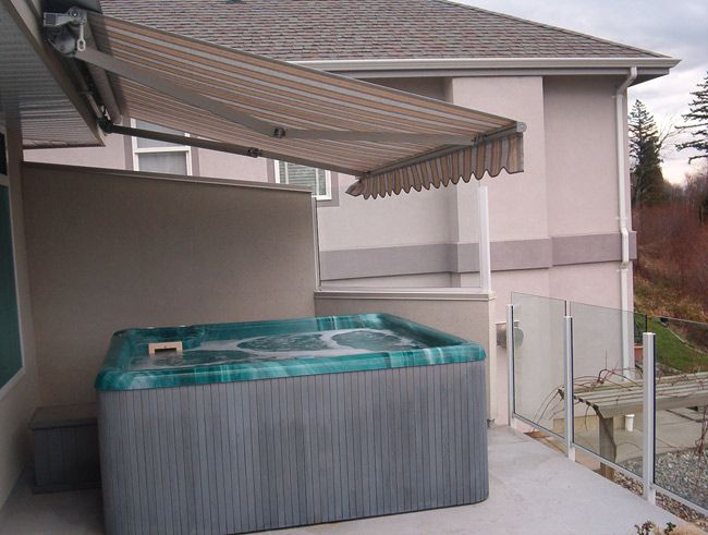 Retractable Fabric Awning Installation Abbotsford In 2020 Awning Installation Hot Tub Hot Tub Patio