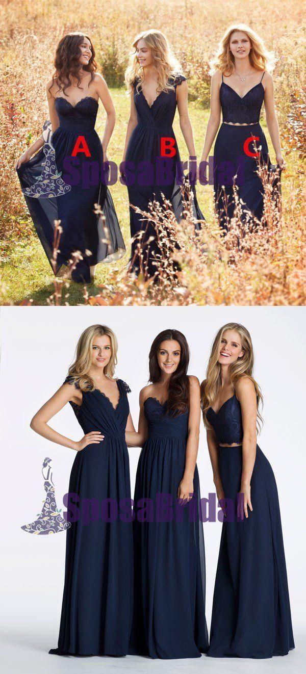 Chiffon cheap navy blue long simple mismatched bridesmaid dresses