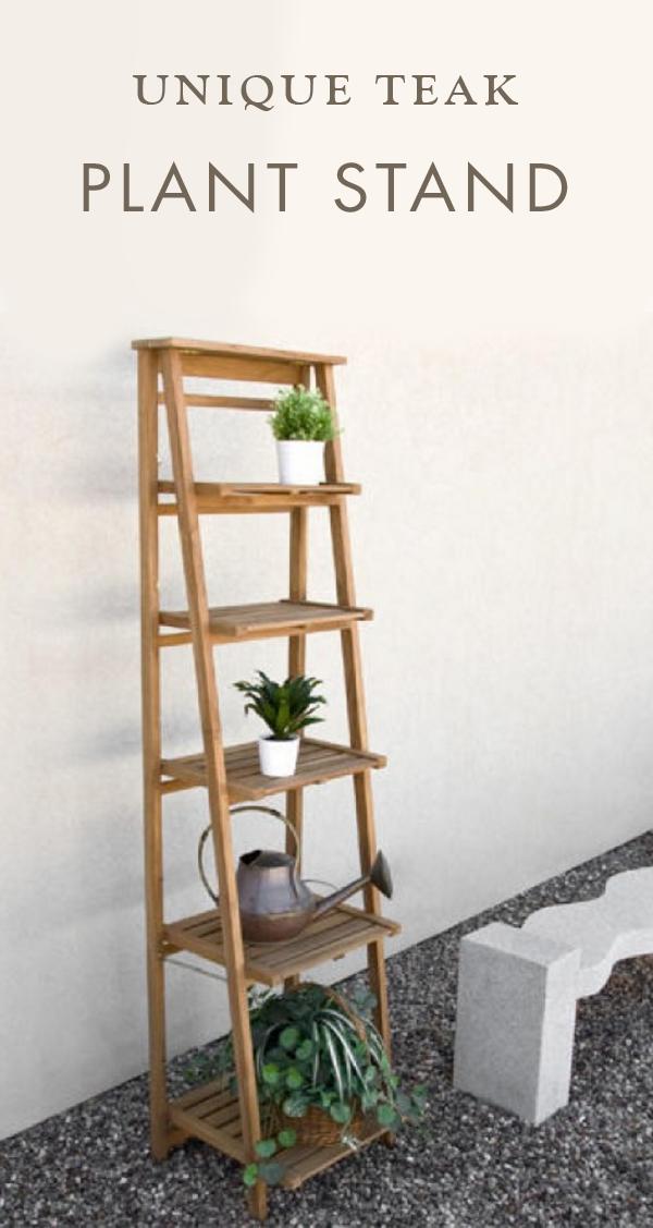 Oversized Ladder Style Teak Plant Stand Plant Stands Outdoor Plant Stand Indoor Plant Stand