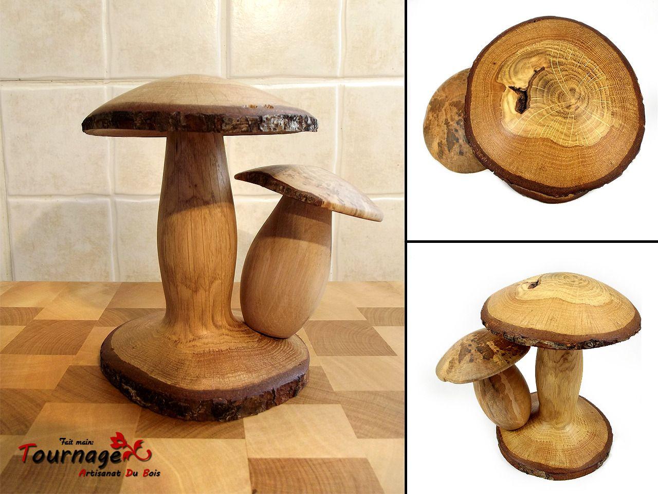 deux champignons en bois de ch ne sur un stand bois de ch ne tournage et champignon. Black Bedroom Furniture Sets. Home Design Ideas