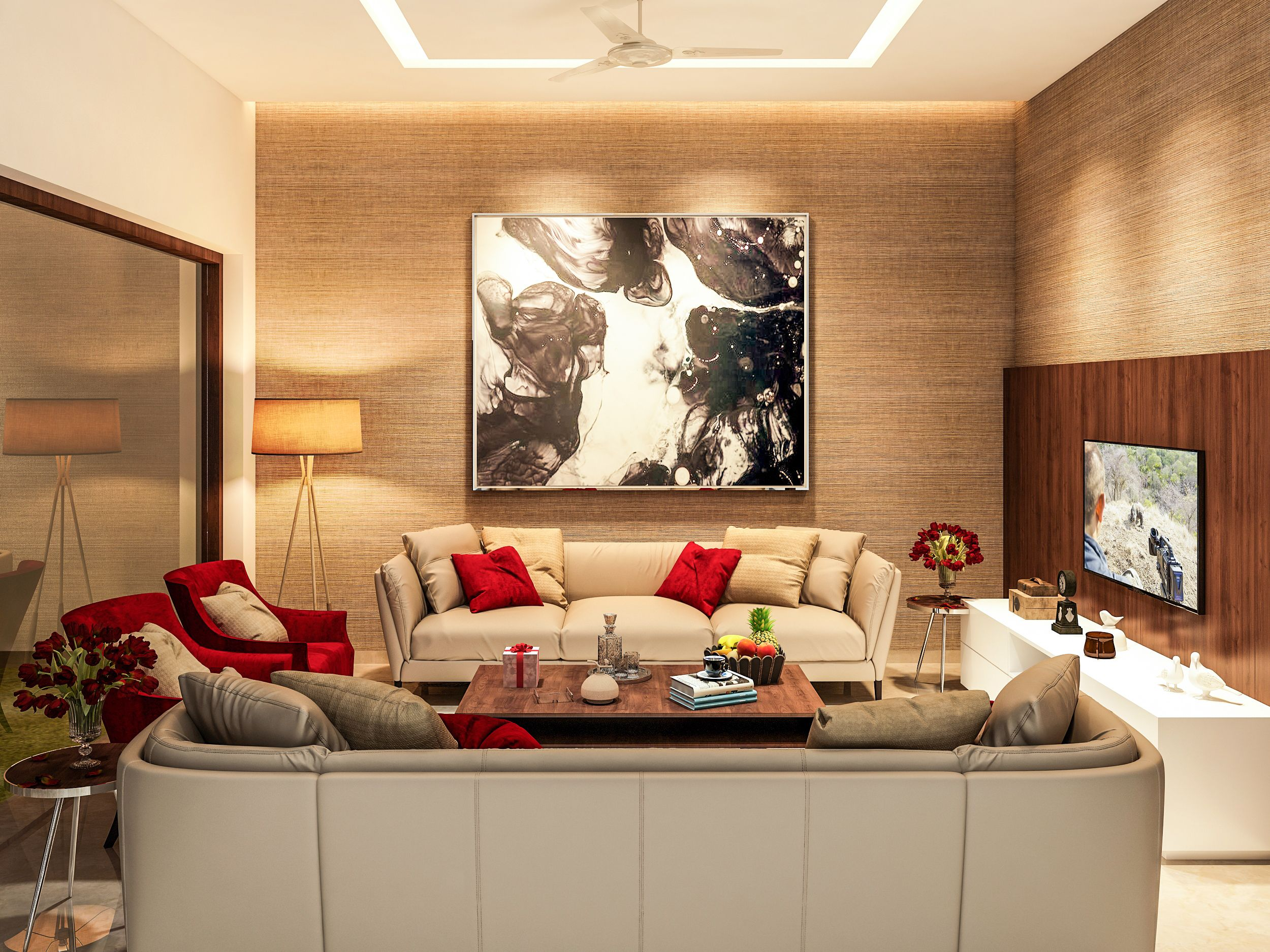 Living Area Designed And Rendered For Client In Ludhiana India