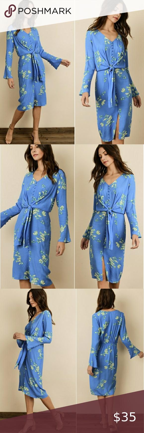 Dress Forum Long Sleeve Button Down Dress Nwt Blue Long Sleeve Dress Floral Blue Dress Tie Front Dress [ 1740 x 580 Pixel ]
