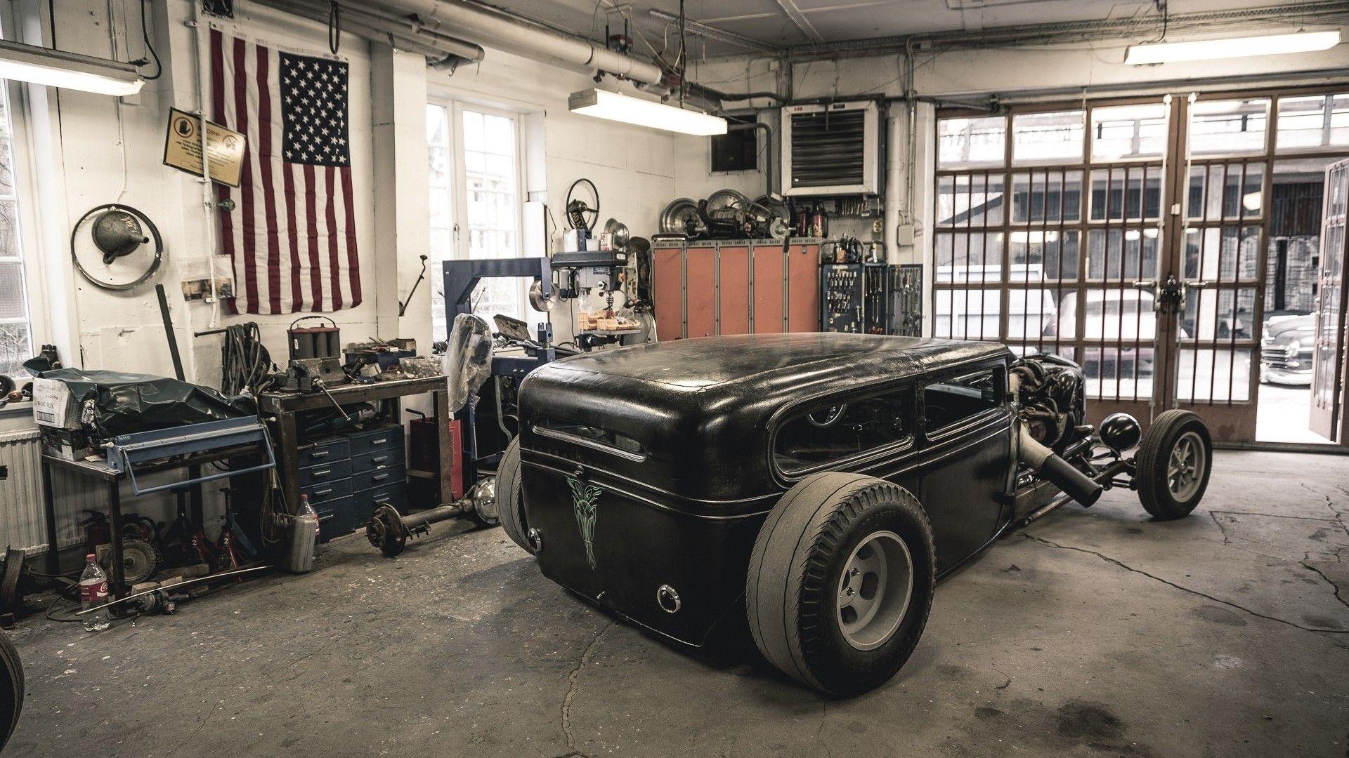 Hot Rod Garage Wallpaper 51937 Rat Rod Hot Rods Cool Garages