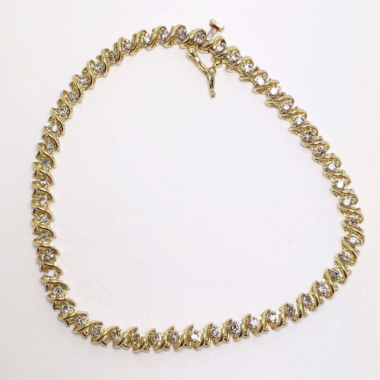 Slightly Used 1Ctw Diamond 14K Gold Spiral Link Tennis Bracelet