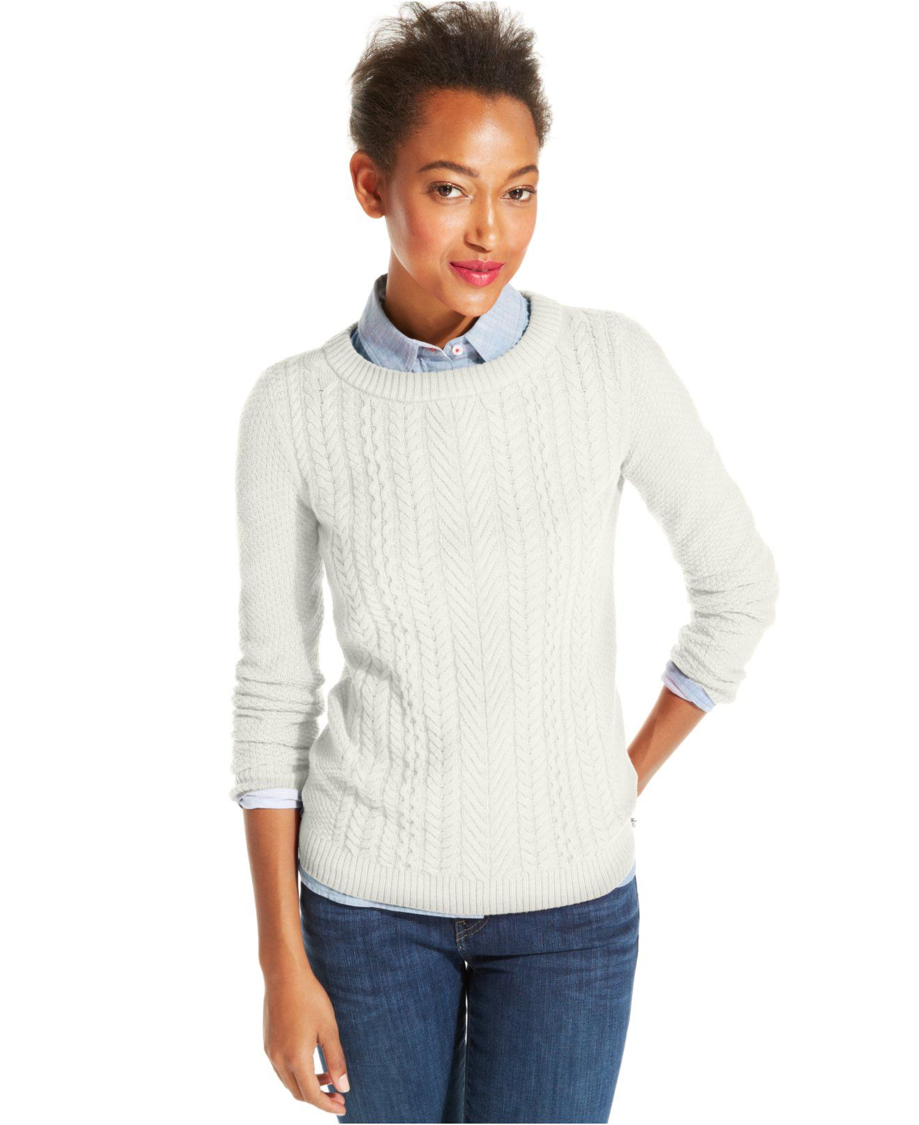 1aafc6094 Tommy Hilfiger Cable-Knit Crew-Neck Sweater - Sweaters - Women ...