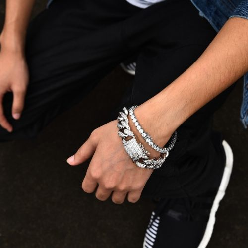 White Gold 12mm Iced Out Cuban And 5mm Tennis Bracelet Set Aporro Fashion Bling Accessory Rapper Jewelry