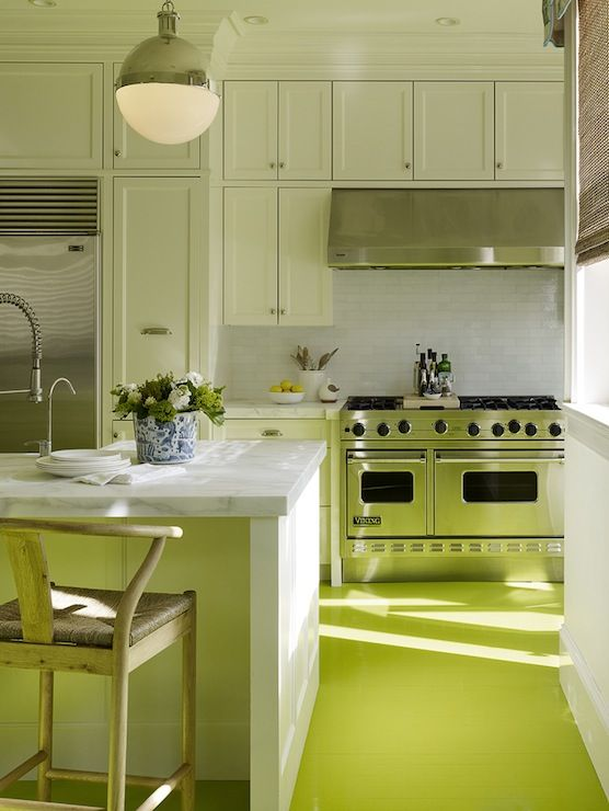 amazing green yellow kitchen | Amazing kitchen with white shaker cabinets paired with ...