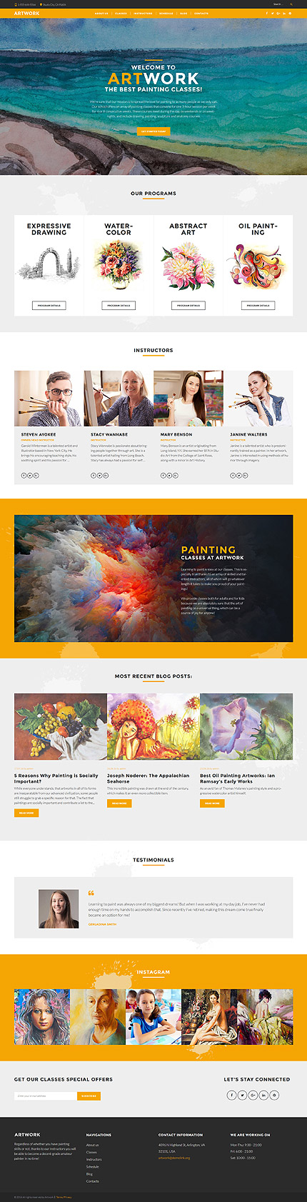 Painting Classes & Academy #Wordpress #template. #themes #business ...