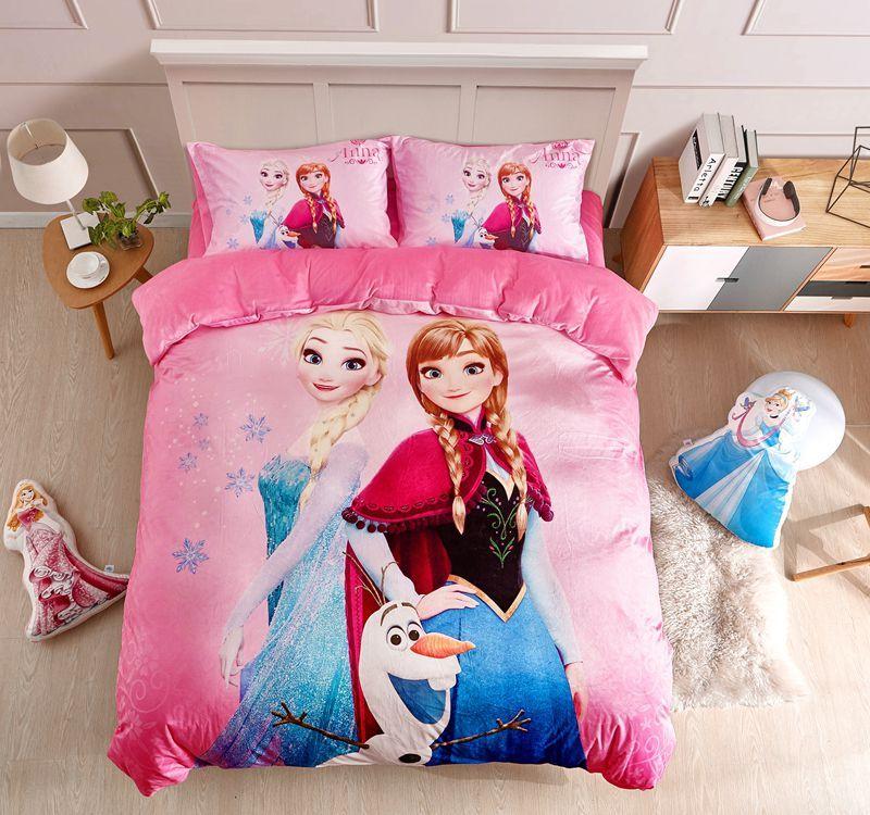 Professional Sale Disney Frozen Elsa Anna Character 3d Pink Bedding Set 100% Cotton Cartoon Duvet Cover Set Single Queen Size Kids Beddings Bedding Sets Home & Garden