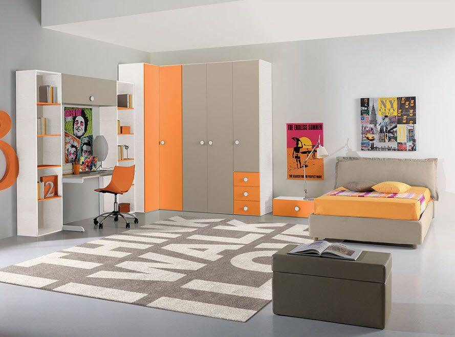 Corner Cabinet Types For Modern Bedroom Interior Design Alternative Dark Grey And Orange Facades Kids Room Design Interior Design Bedroom Modern Kids Bedroom Kids room design orange gray