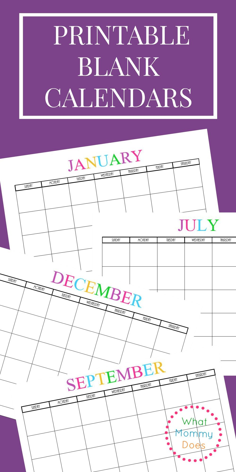 Free Printable Blank Monthly Calendars 2017, 2018, 2019