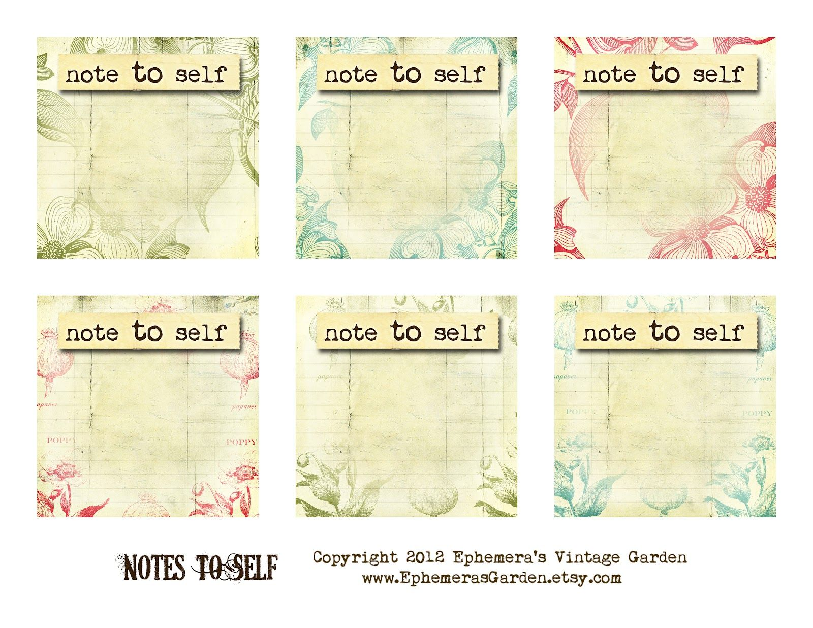 Ephemera S Vintage Garden Free Printable Of The Week Square Notepad Pages