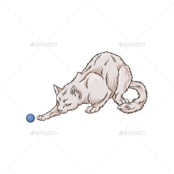 White Cat Playing with a Ball