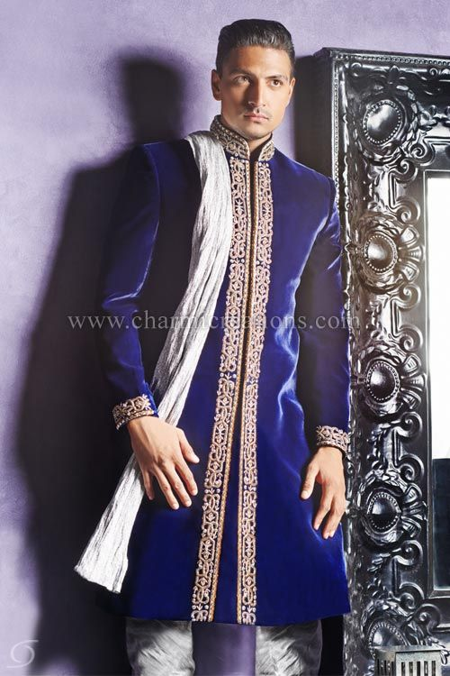 19a95e85c2 Indian Wedding Sherwani - Traditional Asian sherwani in royal blue velvet  with silver jardosi embroidery