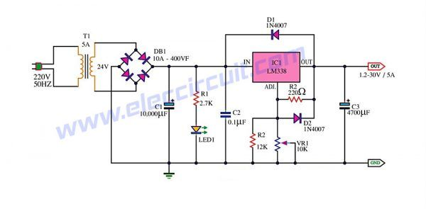 LM338 Adjustable Power Supply 5A | sv | Power supply circuit ... on