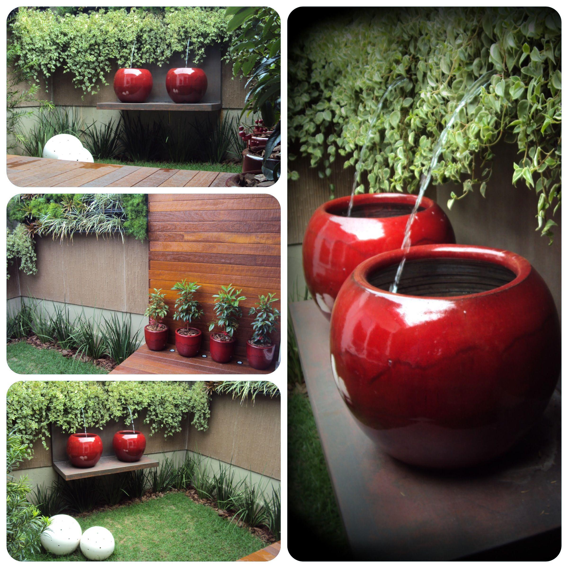 Parede verde com bicas painel com vasos jardim de for Jardines pequenos esquineros