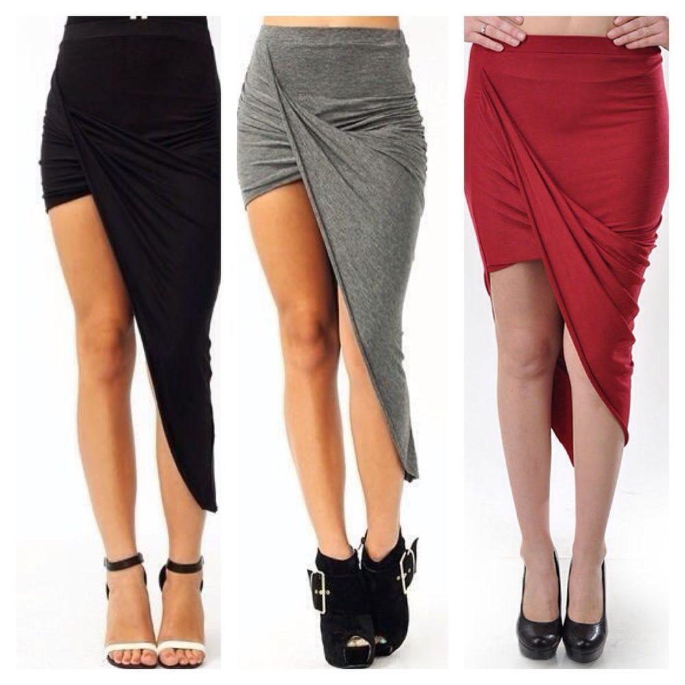 Draped asymmetrical hem skirt mini stretch dress bodycon hi low