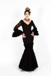 b67f4118c Traje de flamenca canastero color negro en tejido de gasa devorada y ...