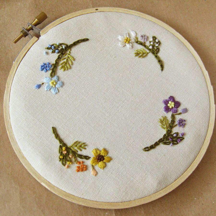 Custom wedding embroidery hoop wall art spring flowers on black
