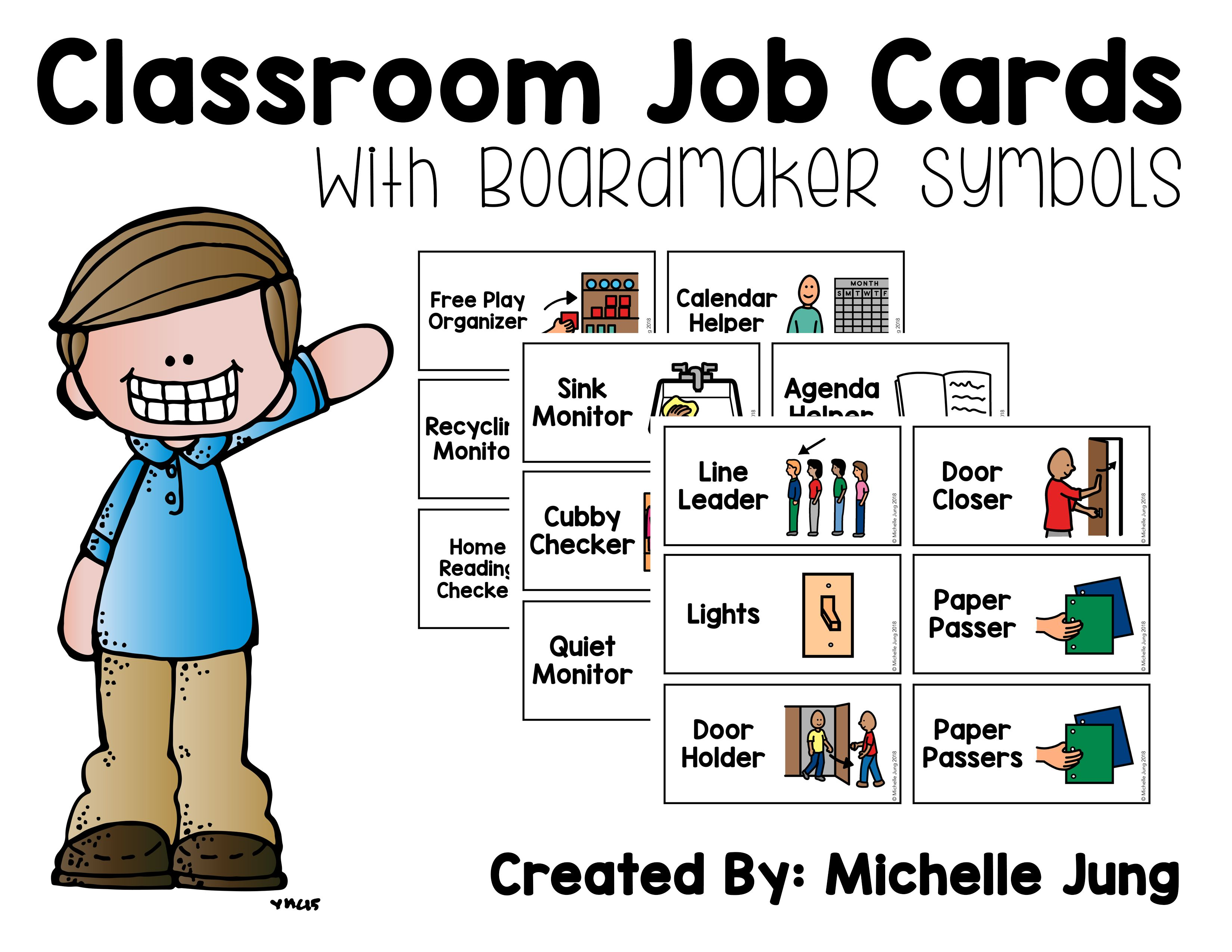 Classroom Job Cards Boardmaker Symbols With Images