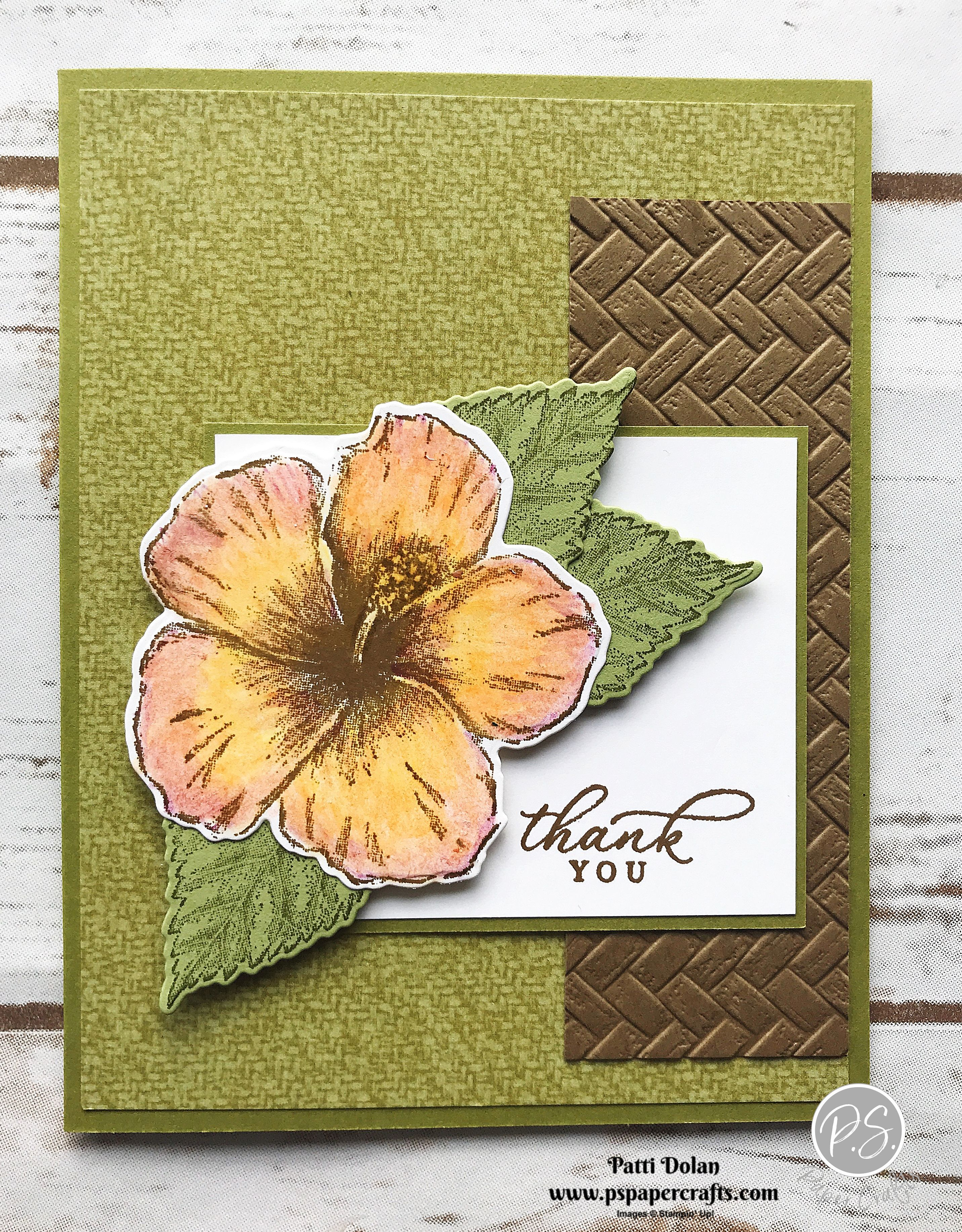 DIY Handmade thank you card with a tropical theme featuring the Timeless Tropical Bundle, Tropical Oasis DSP and Coastal Weave 3D Embossing Folder from Stampin' Up!