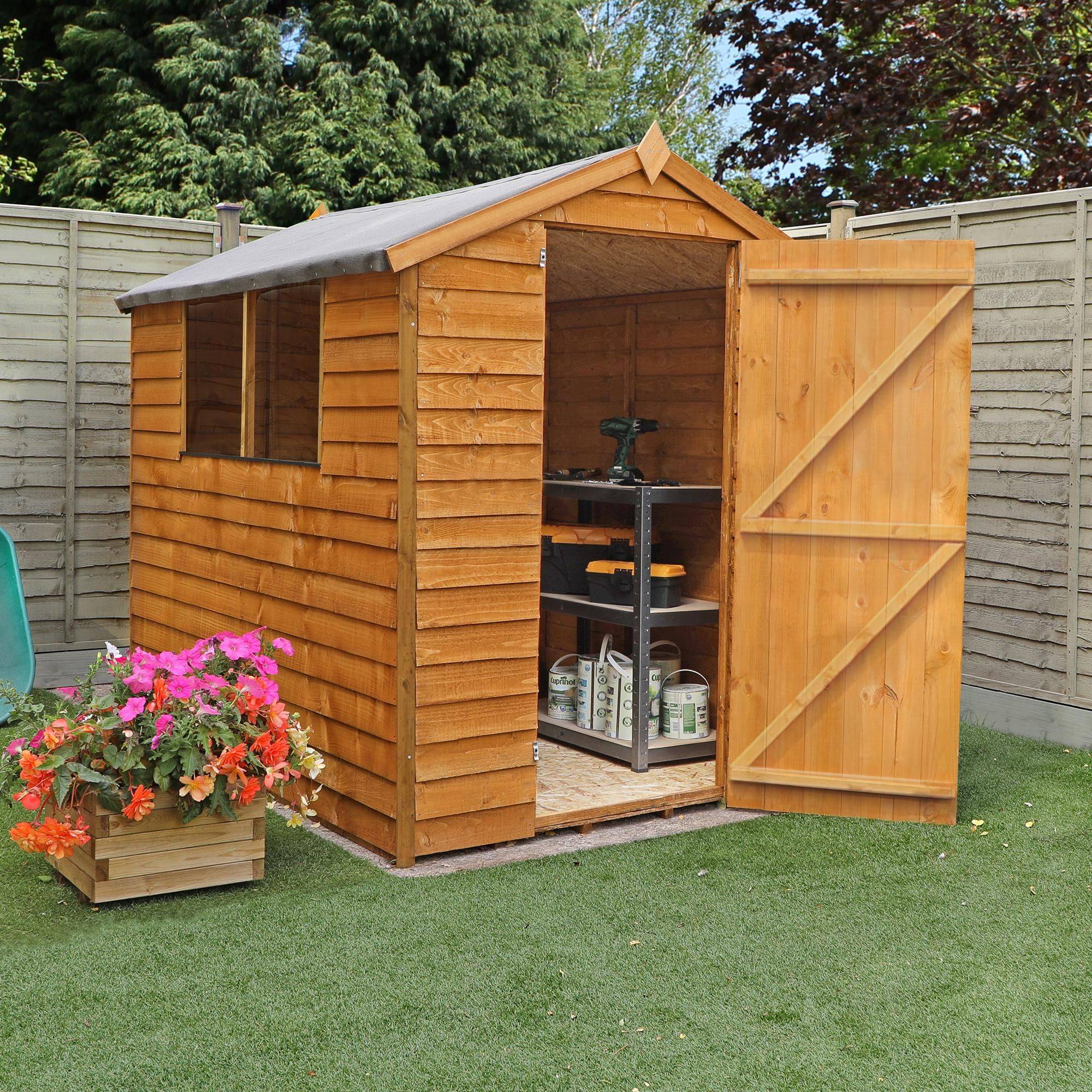 6ft X 8ft Winchester Budget Wooden Overlap Apex Shed With Windows In 2020 Apex Shed Wooden Sheds Shed
